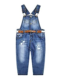 Kidscool Space Baby&Little Girls Ripped Pearls Decor 可调节腰带牛仔裤