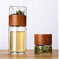 便携式双壁玻璃茶壶 - 7 盎司(约 198.4 毫升)带过滤器的旅行杯,不锈钢过滤器,便携式玻璃水瓶,不含 BPA