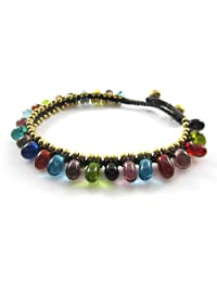MGD, Multicolor Glass Beads with Golden Beads and Brass Bell Anklet. Beautiful Handmade Anklet Made From Wax Cord Fashion Jewelry for Women, Teens and Girls, JB-0132A