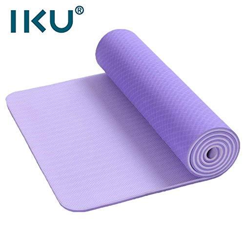 IKU 双层标准宽tpe瑜伽垫 10MM加厚加长保护关节瑜珈垫 环保净味防滑瑜伽健身垫子 183cm*61cm*10mm 送背袋
