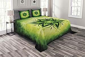 Ambesonne 非洲床单套装,民族图案部落古代传统艺术装饰几何,装饰性绗缝床套 3 件套,带 2 个枕套,多色 Multi 12 Queen bed_35458_queen