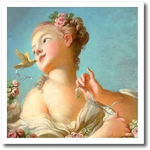 InspirationzStore 复古艺术 - 在她的*和鸟里有玫瑰的漂亮女孩 - Jean-Honore Fragonard 创作的经典浪漫艺术 - 1770 年代 - 热转印 10-Inch ht_157625_3