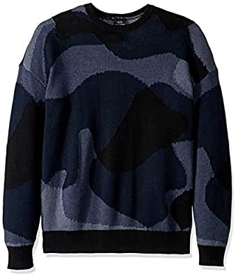 A|X Armani阿玛尼Exchange男式抽象迷彩印花套头毛衣, Black/Java/Incense/B Small
