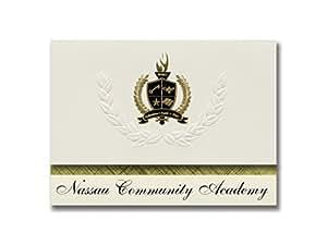 签名公告纳苏社区学院(岩泽,FL)毕业宣布,总统风格,25 片精英包装,金色和黑色金属箔封条