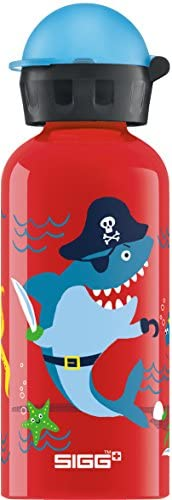 Sigg Underwater 海盗,儿童饮水瓶,0.4 升,免漏水,BPA,铝,红色