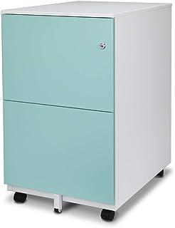 Aurora 金属移动文件柜 White/Aqua Blue 2-drawer