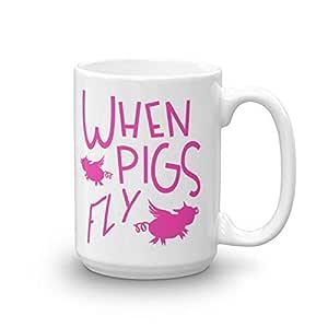 Muddy Carrots 15 盎司 陶瓷咖啡或茶杯 When Pigs Fly 15 oz.