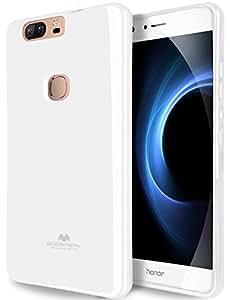 GOOSPERY Marlang Huawei 荣耀 V8 手机壳,免费屏幕保护膜[贴合] TPU 手机壳 [灵活] 珍珠果冻[保护] 华为荣耀 V8 手机壳 白色