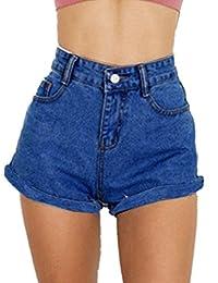 GOLDSTITCH 女式青少年复古牛仔高腰牛仔裤短裤