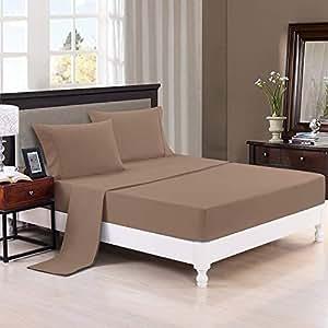 正品超柔床单 1200 支埃及长绒棉 4 件套床上用品 33 cm 袋深,立体花纹(所有尺寸,颜色)满意* 灰褐色 Queen