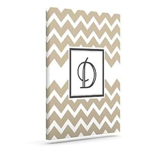 Kess InHouse KESS 原创交织字母 V 形花纹棕褐色 D 户外帆布墙体艺术,60.96 x 76.20 cm