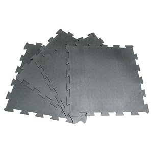 "Rubber-Cal""Armor Lock"" Interlocking Rubber Mat (4-Pack), Black, 3/8 x 24 x 24-Inch"