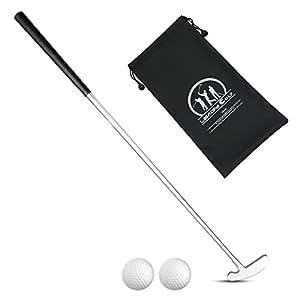 LEAGY 4 Sections 便携两用推杆 - 左右手 - 2 个高尔夫球隔在白色背景上 - 1 个高尔夫球包