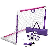 Morvat 足球球门套装适用于后院、儿童户外玩具、儿童户外足球目标、女孩足球配件、后院幼儿足球目标、足球、青少年球、粉色和紫色