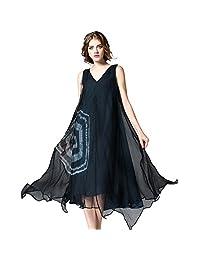 difaner 女式丝长礼服 V 领无袖印花连衣裙带内衬