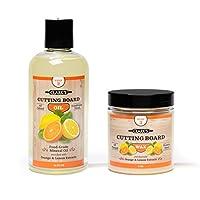 Clarks 砧板油和蠟(2 瓶裝)  包括 CLARK'S 砧板油(12 盎司)和 CLARK'S Finish 蠟(6 盎司) Orange Lemon Scent 2 Bottle Set (Orange-Lemon) 853324008036
