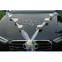 ORGANZA M + HERZEN Auto-Schmuck 新婚夫妇玫瑰装饰 汽车装饰 婚车 婚车装饰 轿车藤条花环 Lemon / Weiß /Weiß