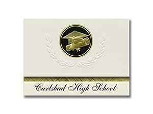 签名公告 Carlsbad High School (CA) 毕业公告,总统风格,基本包装 25 个帽子及证书印章。 黑色和金色。