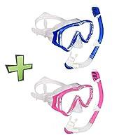 WACOOL 儿童青少年浮潜*管套装,防雾涂层玻璃潜水口罩,带硅胶嘴孔的*管,冲气阀和防溅保护。