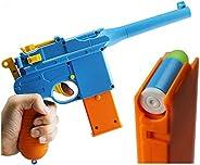 Colt 1911 玩具枪 带软弹子弹和喷射杂志。 M1911 的实际尺寸,带滑梯动作橙色桶,用于训练或玩耍 Mauser C96