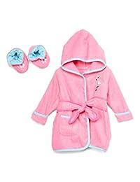 Spasilk * 纯棉带帽毛绒浴袍和短靴 Pink Flamingo