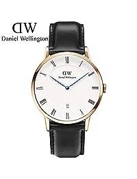 丹尼尔惠灵顿(Daniel Wellington)手表DW男表38mm金色边皮带超薄男士石英手表带日历 瑞典品牌 专柜同款 (Sheffield)