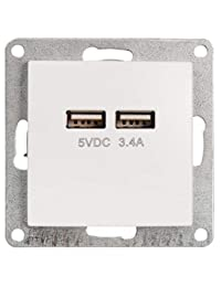MC POWER 1534941 McPower – USB 充电盒 | FLAIR | 2倍,5V / 3,4A,UP,白色,哑光 | 理想 适用于智能手机和平板电脑的充电,230 V