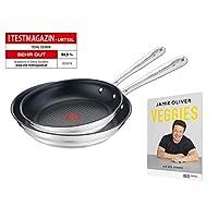 Tefal 特福 Jamie Oliver 拉丝平底锅套装 不锈钢 2-teilig E011S2.VEG