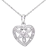 Naava 女式白金钻石花朵心形吊坠 + 46cm Trace 项链