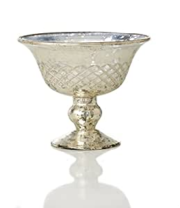 Sage & Co. EAC16377 Etched Mercury Glass Compote