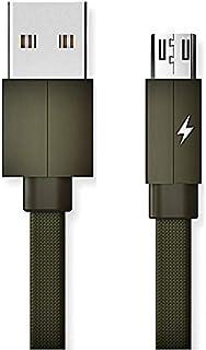 Foxy Fane 2A 织物 2.54 厘米扁平无缠绕尼龙微型 USB 连接线快速充电数据同步兼容三星 Galaxy 手机、Note HTC Nokia 索尼安卓设备 *蓝*