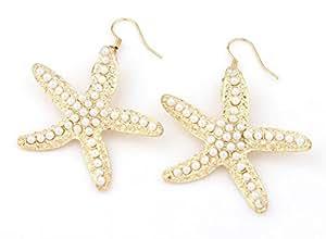 Sunne 优雅可爱海星耳环 金色星形耳环 女式配饰珍珠耳环