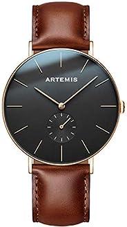 Artemis 腕表 男式手表 玫瑰金 黑色 表面 棕色皮带 男式手表 模拟 极简腕佩戴