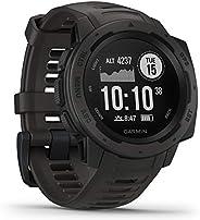 Garmin 佳明 Instinct 防水運動智能手表 帶有智能手機通知 帶GPS的運動/健身功能,14日續航,黑色