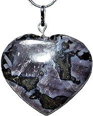 Zenergy Gems Charged 天然喜馬拉雅神秘靛藍 Gabbro 水晶心形吊墜 + 50.8cm 鍍銀蛇鏈 + 含硒石心形充電水晶