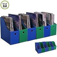 Evelots 弹匣文件架 - 新型重型塑料整理袋 - 10.16 cm 宽 Set of 12 蓝色和*