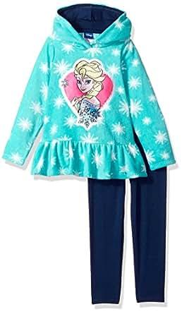 Disney Little Girls'2 Piece Elsa Fleece Set 绿色 6