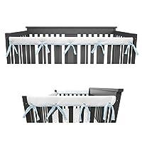 American Baby Company 3 件套加垫婴儿床护栏保护套,适用于标准婴儿床,超柔软,适合侧面和前部护栏 蓝色/白色 Combo Set