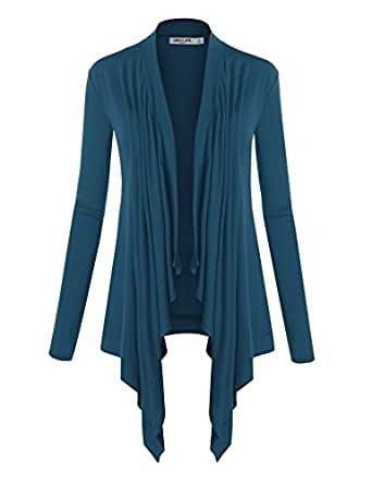 Lock and Love LL Womens Long Sleeve Draped Open Front Cardigan Wsk849_teal Small