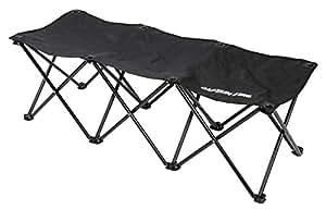 CAPTAIN STAG鹿牌长椅 座椅 小型长椅 3人座 黑色 玻璃纱 UC-1679