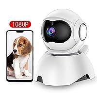 DEYAN 宠物摄像头,1080P 狗狗摄像头,WiFi 宠物监视器,室内猫摄像头高清夜视双向音频,运动跟踪和声音检测,带智能平移/倾斜/变焦功能