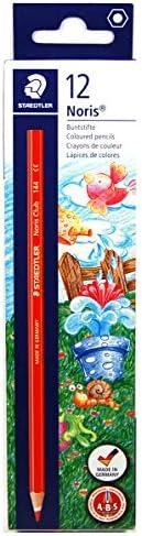 Staedtler 144-2 Noris Club 系列彩色铅笔,六角形,每盒 12 支,包装在纸箱中,红色