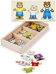 Melissa & Doug 瑪莉莎 熊家族装扮游戏(学龄前,混搭服装,耐用的木质结构,坚固的储物箱,31.75厘米高x 15.748厘米宽x 5.08