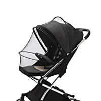 婴儿推车蚊帐,加密婴儿车蚊帐全套,HJQJ 可伸缩网,透气折叠两用拉链网眼蚊帐,适用于婴儿汽车座椅罩,摇篮(黑色)