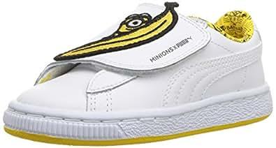 PUMA Minions Basket Wrap Statement 皮革儿童运动鞋 Puma 白水白 白色 - 薄荷黄 1.5 M US Little Kid