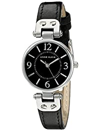 Anne Klein Women's 109443BKBK Stainless Steel Watch with Black Leather Band