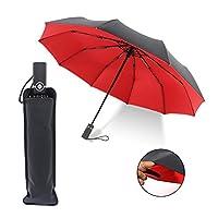 Free Walker 10 罗纹 45 英寸自动折叠伞,带双伞伞,防雨和防风防水防紫外线,坚固便携高尔夫伞,男女皆宜