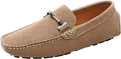 Jamron 男士时尚扣驾驶鞋麂皮乐福鞋平底鞋 驼色 11.5 M US