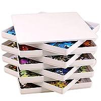 拼图白色拼图 带盖分类托盘和 8 个方形可堆叠拼图 拼图 拼图 分类器 适合*多 1000 块拼图爱好者