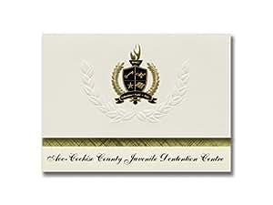 签名公告 Aoc-Cochise County 少年罪中心(塞拉利昂,亚利桑那州)毕业公告,总统精英包装 25 带金色和黑色箔印章